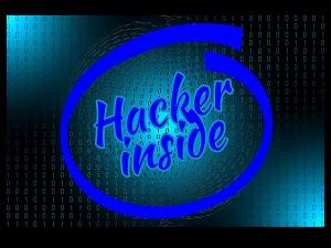 Hacker Inside parody logo or Intel Inside