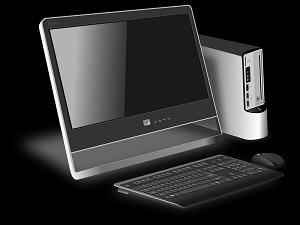 computer on black background