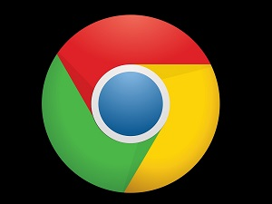 Google Chrome icon on black background