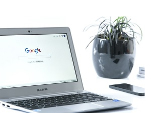 Google home page displayed on laptop
