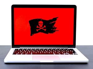 pirate flag displayed on laptop