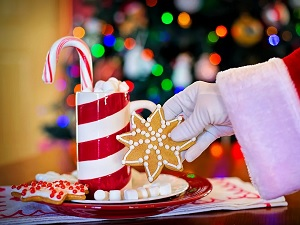 Santa Claus taking cookie from holiday plate