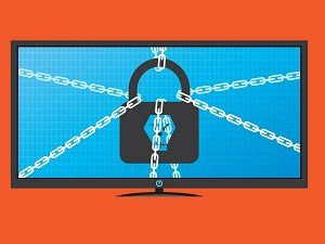 icon of lock and chains on computer monitor